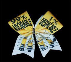 Prison Minion 99% Adorable Glitter Cheer Bow