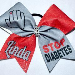 Stop Diabetes Cheer Bow
