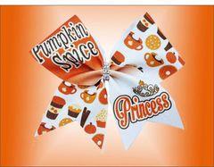 Pumpkin Spice Princess Glitter Cheer Bow