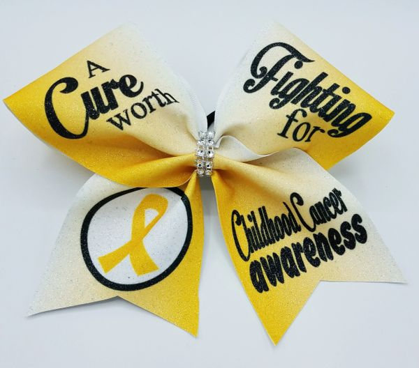 Childhood Cancer Awareness Glitter Cheer Bow