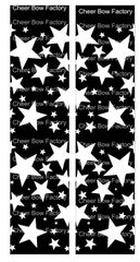 Stars Black Cheer Bow Ready to Press Sublimation Graphic