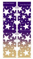 Stars Ombre Purple Gold Cheer Bow Ready to Press Sublimation Graphic