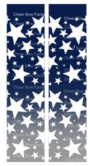 Stars Ombre Navy Silver Cheer Bow Ready to Press Sublimation Graphic