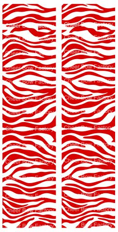 Zebra Red White Cheer Bow Ready to Press Sublimation Graphic