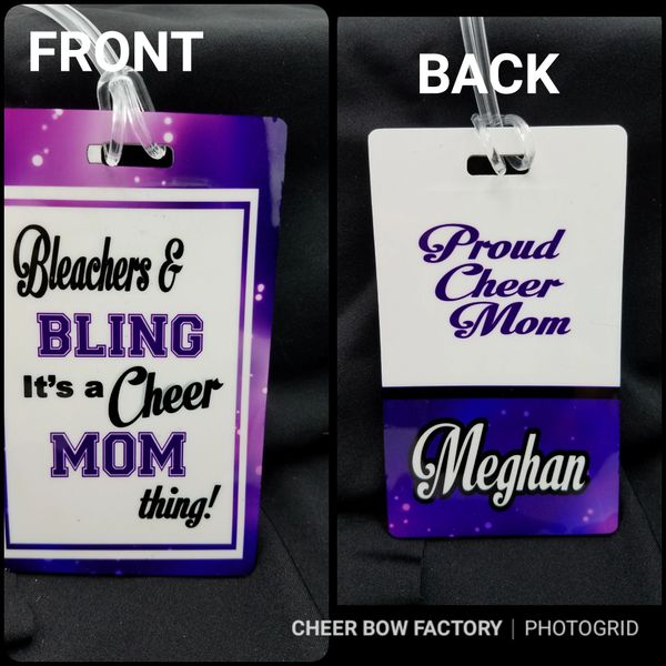 Bleacher & Bling Cheer Mom Personalized Bag Tag