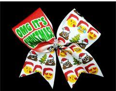 OMG It's Christmas Emoji Glitter Cheer Bow