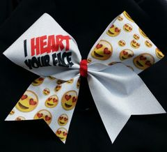 I Heart Your Face Emoji Cheer Bow