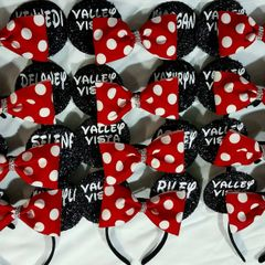 Custom Mickey Ears with Detachable Rhinestone Tailless Bow Team Order (minimum order 12 bows)
