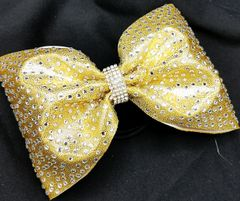 The Mikayla Mystique Fabric Rhinestone Tailless Cheer Bow