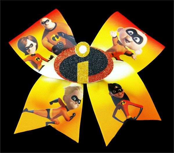 Incredibles Ribbon & Glitter 3D Center Cheer Bow