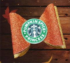 Pumpkin Spice Princess Glitter Dolly Style Cheer Bow