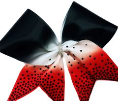The Debbie black white red Ombre w/ onyx rhinestones Cheer Bow