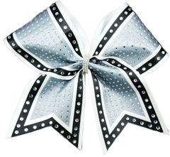 The Molly Silver black white Rhinestone Cheer Bow