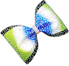 The Darcy Satin & Rhinestone Tailless Cheer Bow Lime Royal Black