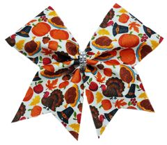 Thanksgiving Pattern Cheer Bow