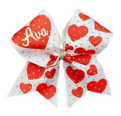 Personalized Valentine Rhinestone Ribbon Cheer Bow Cheer Bow