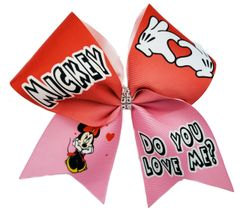 Mickey Do You Love Me Valentines Cheer Bow