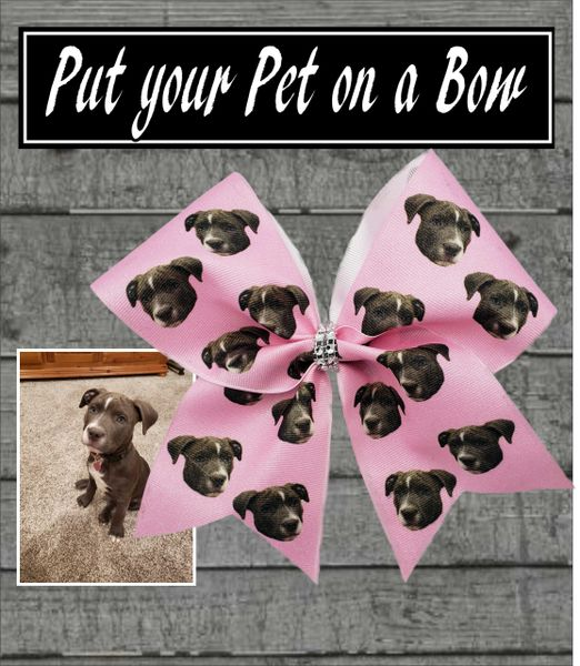 Custom Put Your Pet On A Bow Cheer Bow