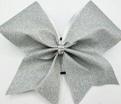 Silver Glitter Fabric Cheer Bow