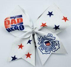 My Dad My Hero Coast Guard Glitter Vinyl Cheer Bow