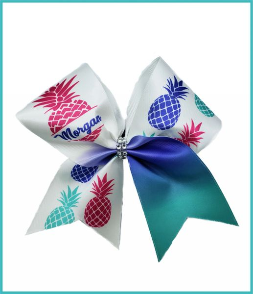 Pineapple Personalized Satin Cheer Bow