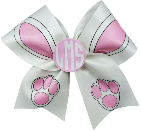 Easter Bunny Monogram Satin Cheer Bow