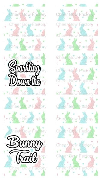 Sparkling Down The Bunny Trail Sublimation Cheer Bow Graphic