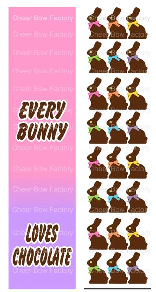 Every Bunny Loves Chocolate Sublimation Cheer Bow Graphic