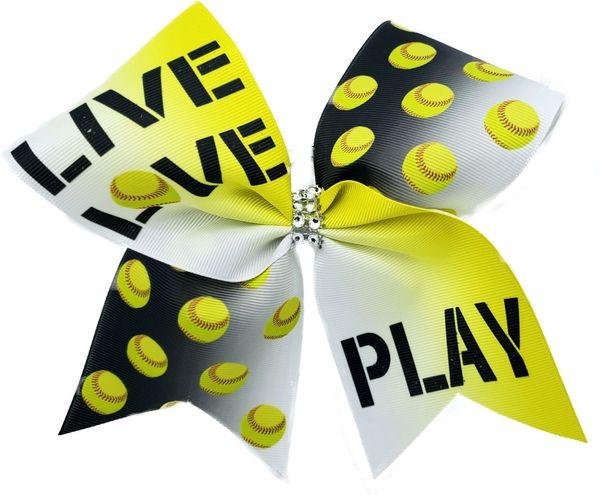 Live Love Play Softball Cheer Bow