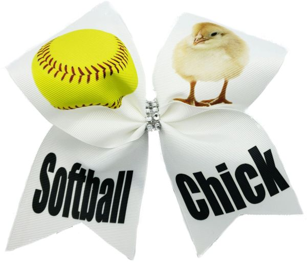 Softball Chick Cheer Bow
