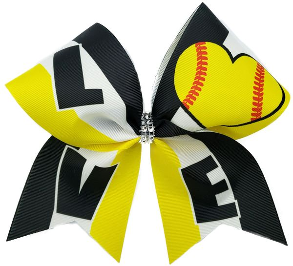 Love Softball Cheer Bow