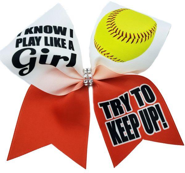 I Know I Play Like A Girl Softball Bow