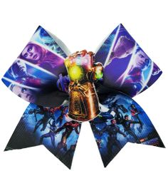 Avengers End Game Ribbon & Glitter 3D Center Cheer Bow
