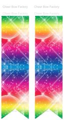 Rainbow Galaxy Cheer Bow Ready to Press Sublimation Graphic