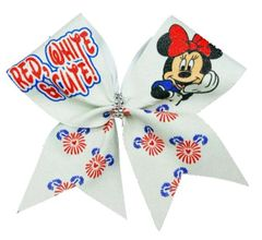 Red, White, & Cute Glitter Cheer Bow