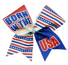 Born in the USA Glitter Cheer Bow