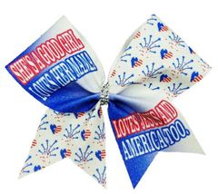 She's a good girl loves her mama loves Jesus and America Glitter Cheer Bow