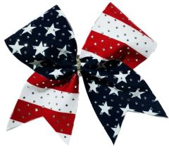 Stars & Stripes Rhinestone Fabric Cheer Bow