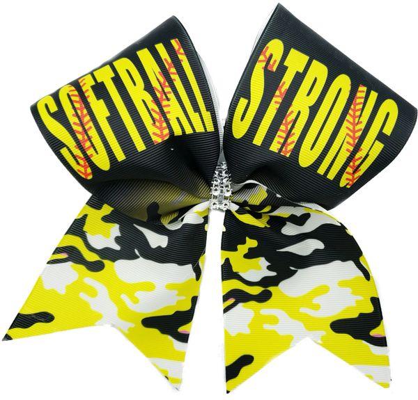 Softball Strong Cheer Bow