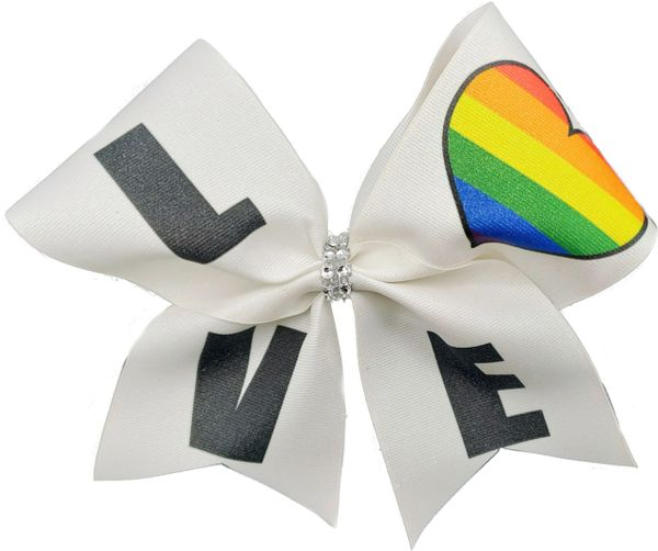 "Pride ""LOVE"" Rainbow Awareness Cheer Bow"