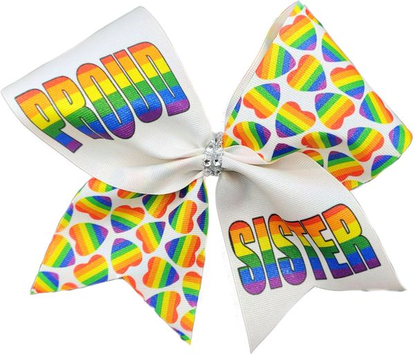 Proud Sister Pride Rainbow Awareness Cheer Bow