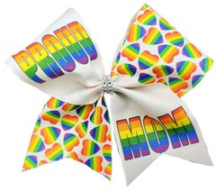 Proud Mom Rainbow Pride Awareness Cheer Bow