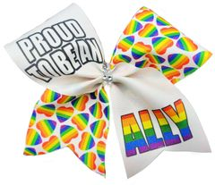 Proud to be an Ally Rainbow Pride Awareness Cheer Bow