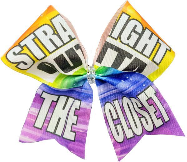 Straight Outta the Closet Rainbow Pride Awareness Cheer Bow