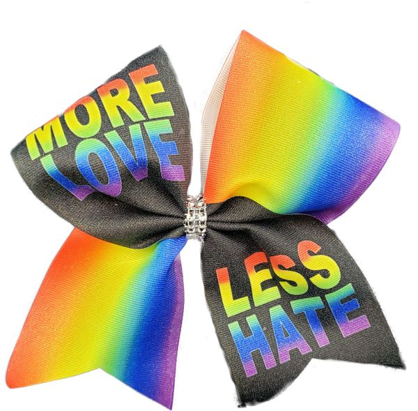 More Love Less Hate Rainbow Pride Awareness Cheer Bow