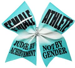 Female Athlete Judge by Achievement Not By Gender Glitter Vinyl Cheer Bow