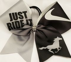Equestrian Just Ride It Nike Ribbon Cheer Bow