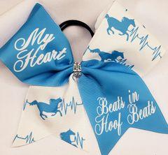 Equestrian My Heart Beats in Hoof Beats Ribbon Cheer Bow