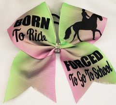 Equestrian Born To Ride Ribbon Cheer Bow