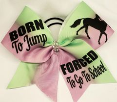 Equestrian Born To Jump Ribbon Cheer Bow